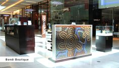 Nespresso Bondi Boutique capsule art - This installations was created by Balarinji Design Studio with proceeds going to Indi Kindi, an Aboriginal pre-literacy program. Take a closer look next time you're in a boutique!