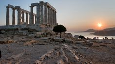 temple of poseidon, athens, greece and other ancient ruins