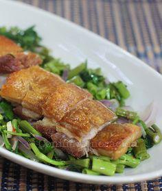 Lechon con kangkong (roast pork belly with water spinach) | casaveneracion.com