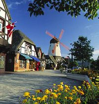 """Solvang, CA.  Danish for """"Sunny Fields."""" A city in Santa Barbara County, California, United States. It is one of the communities that make up the Santa Ynez Valley.  The city is home to a number of bakeries, restaurants, and merchants offering a taste of Denmark in California. The architecture of many of the facades and buildings reflects traditional Danish style."""