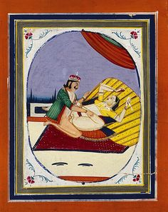 Part of a series of Set of Ten Northern Indian Erotic Paintings. Gouache on paper taken from a ledger, the reverse of one reading 'Guard's road guidance for parcels and luggage' with ink inscriptions detailing cargo travelling by rail to Delhi from Lahore and other Indian railway stations Late 19th Century Size: 26.5 cm high, 19.5 cm wide – 10½ ins high, 7¾ ins wide
