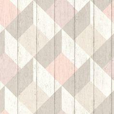 Galerie Wallpaper Deco4Walls | Unplugged Geometric Wood Pink | UN3204