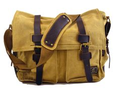 "Vintage Canvas Military Messenger Bag Top Quality Vintage Style Canvas and Leather School Military Shoulder Bag Messenger Bag Features: Materials - 100% cotton canvas, Genuine Leather SIZE - 14"" W x 1"