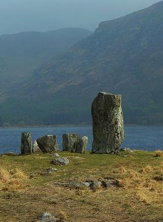 Uragh Stone Circle, a neolithic stone circle in Gleninchaquin Park, County Kerry, Republic of Ireland.