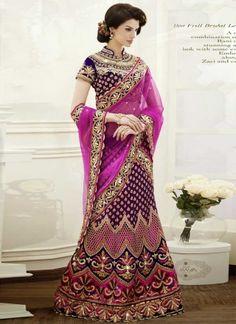Outstanding Purple Embroidery Work Bridal Lehenga Choli http://www.angelnx.com/Lehenga-Choli#