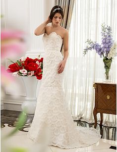 Trumpet/Mermaid Sweetheart Sweep/Brush Train Satin and Lace Wedding Dress – USD $ 159.99