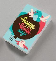 happy birthday birds card concept