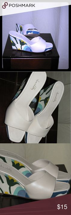 SAM AND LIBBY SLIP ON WEDGES These are so cute! White Sam and Libby slip on wedges with floral pattern that is perfect for summer! MINT CONDITION. SIZE 7 Sam & Libby Shoes Wedges