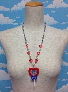 Heart Lollipop Necklace in Red from Angelic Pretty - Lolita Desu