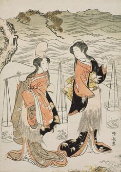 The Brine Maidens. Ukiyo-e woodblock print.1778, Japan, by artist Torii Kiyonaga