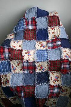 denim, flannel and print rag quilt