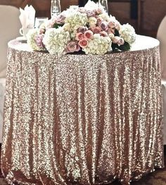 SHIPS ASAP Champagne Blush Sequin Sparkly Champagne Sequin TableCloth Glitz Sequined Table Linen Glittery Blush Wedding Wholesale by LuxeLinens on Etsy https://www.etsy.com/listing/214914708/ships-asap-champagne-blush-sequin