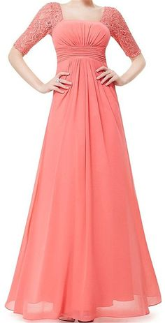 Endofjune Long Chiffon Two Shoulder Lace Sexy Party Dress US-12 Coral * Insider's special review you can't miss. Read more  : mother of the bride dresses