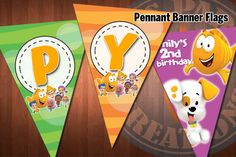 BUBBLE GUPPIES Pennant Banner Flags for Bubble Guppies Birthday Party. $11.99, via Etsy.