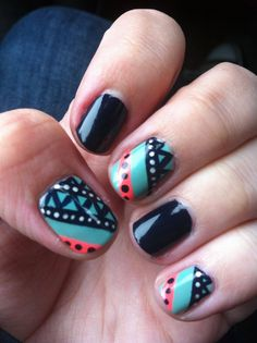 my tribal nails! this was so much fun, I'm taking it off less than 24 hours later to try a different pattern.