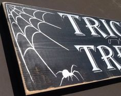 Trick or Treat Hand Painted Halloween Sign Small by CSCByMeg