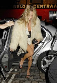 Kate Moss white fur coat birthday party