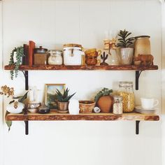 The post Live edge open shelving. appeared first on Decor. Sweet Home, Decoration Inspiration, Decor Ideas, Room Ideas, Eclectic Decor, Open Shelving, Cozy House, Home Decor Accessories, Cheap Home Decor