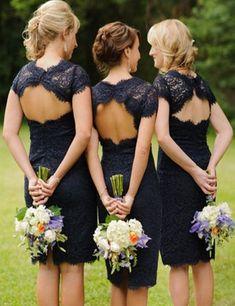 ba1224168ac Simple Round Neck Short Sleeves Open Back Navy Blue Short Lace Bridesmaid  Dress