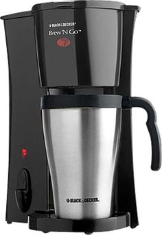Black & Decker - Brew 'n Go Personal Coffeemaker - Black/Stainless-Steel, DCM18