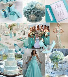 Turkos-vitt färgtema på bröllop / Color theme: turquoise, white