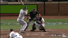 GIF: April 13, 2015: #14 Stephen Drew sending a ball over the fence in right-center field for a pinch-hit grand slam in the 7th Inning of the New York Yankees game against the Baltimore Orioles.