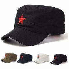 Unisex Red Star Cotton Army Cadet Military Cap Adjustable Hat 58b9284b0363