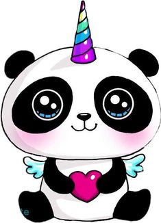 kawaii unicorn panda so lovable Panda Kawaii, Kawaii Art, Kawaii Anime, Cute Easy Drawings, Cute Animal Drawings, Cute Drawings Of People, Kawaii Girl Drawings, Cartoon Drawings, Kawaii Doodles