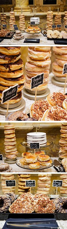 Donut Station. Wedding dessert station inspiration. Desserts courtesy of Kane's Donuts in Boston, MA. Carly Michelle Photography. The Catered Affair