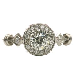 0.59ct J/VS1 old European cut diamond EGL certified set in a platinum hand crafted mounting Surround Old European Cut Diamond Spear Ring, $4800.00