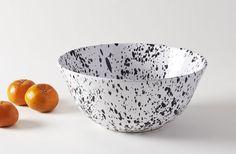 Black on White Splatterware 14.5 Inch Serving Bowl