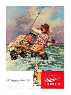 1946 Miller Beer AdFisherman Catches Girl High by VintagePaperNow, $7.99