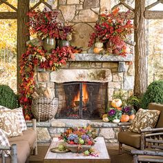 Glowing Outdoor Fireplace Ideas: Outdoor Fireplace with Fall Garland