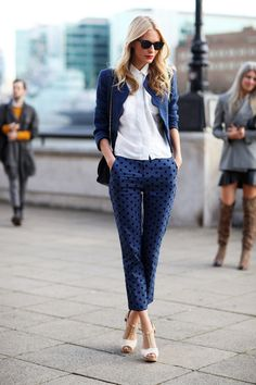 Blue polka dot pants and scalloped jacket