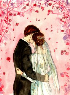 Time of Roses It was not in the Winter Our loving lot was cast; It was the time of roses— We pluck'd them as we pass'd!) 'Twas twilight, and I bade. Time Of Roses Wedding Illustration, Family Illustration, People Illustration, Graphic Design Illustration, Illustration Art, Illustrations, Wedding Art, Wedding Album, Wedding Images