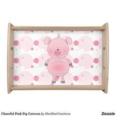 Cheerful Pink Pig Cartoon Serving Trays