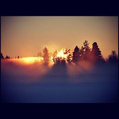 Sunbeams through the mist over a frozen lake at sunset. Near Karlstad, Sweden.