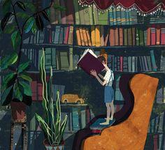 Inmersión en la biblioteca (ilustración by Victoria Antolini)