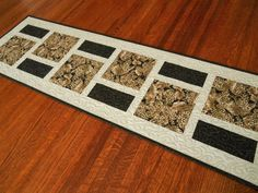 Wine Table Runner in Black Brown Taupe and Ivory by SusiQuilts