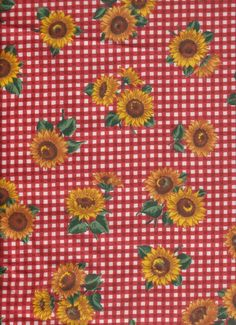 Red White Checked Sunflower retro 60s vtg Country kitchen fabric curtain Valance #Handmade