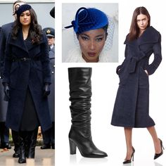 The Duchess of Sussex made her debut alongside Prince Harry at the Field of Remembrance today. Meghan wore a midnight blue Sentaler boucle alpaca coat from 2015 collection. Harry And Meghan News, Kate And Harry, Prince Harry And Meghan, Meghan Markle Outfits, Meghan Markle Style, Royal Fashion, Fashion Looks, Carolina Herrera, Fashion Outfits