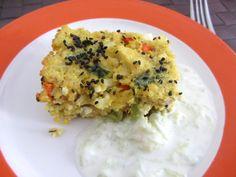 Kleinkind Rezept Gemüse-Hirseauflauf mit Feta auf www.babyspeck.at. Salzfreie Variante als breifreies Babyrezept. Hirseauflauf für unterwegs für BLW-Babys.