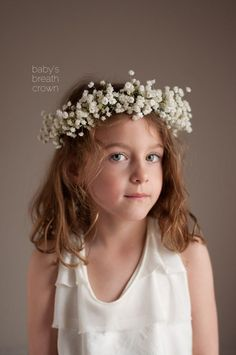 Baby's Breath Crown for flower girl Babys Breath Crown, Baby Breath Flower Crown, Babys Breath Hair, Babys Breath Flowers, Diy Wedding Flowers, Floral Wedding, Wedding Ideas, Garden Wedding, Wedding Bouquets