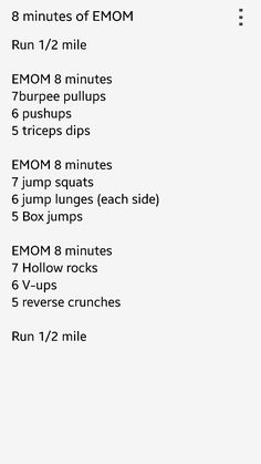 EMOM workout for days between muscle groups.