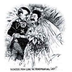"a cartoon depicting the Nazi-Soviet Pact.  Remember Hitler and Stalin eventually decided to sign a pact to promise that they would not attack each other. This meant that Hitler could focus on his war against Britain/France. But how long will this ""peace"" or ""honeymoon"" last? According to our contextual knowledge, we know that Hitler eventually broke the pact and attacked Soviet Union..."