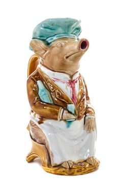 * A French Majolica Figural Pitcher Height 10 1/2 inches.