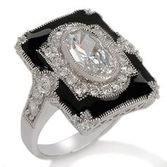 Xavier 2.38ct Absolute™ Enamel Oval & Round Frame Ring Love this ring! :D