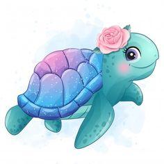 Baby Animal Drawings, Cute Drawings, Cute Turtle Drawings, Kawaii Drawings, Baby Animals, Cute Animals, Cute Mermaid, Cute Images, Cartoon Wallpaper