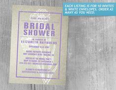 Rustic Purple Bridal Shower Invitations