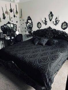 Room Ideas Bedroom, Dream Bedroom, Bedroom Decor, Dark Home Decor, Goth Home Decor, Gothic Room, Dream House Interior, Cute Room Decor, Aesthetic Room Decor